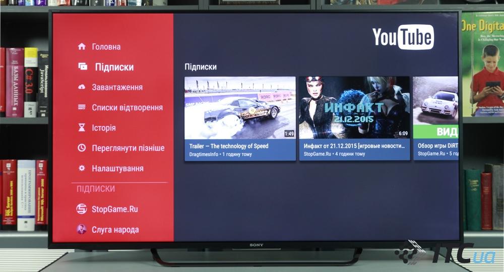 YouTube на Sony Smart TV Android