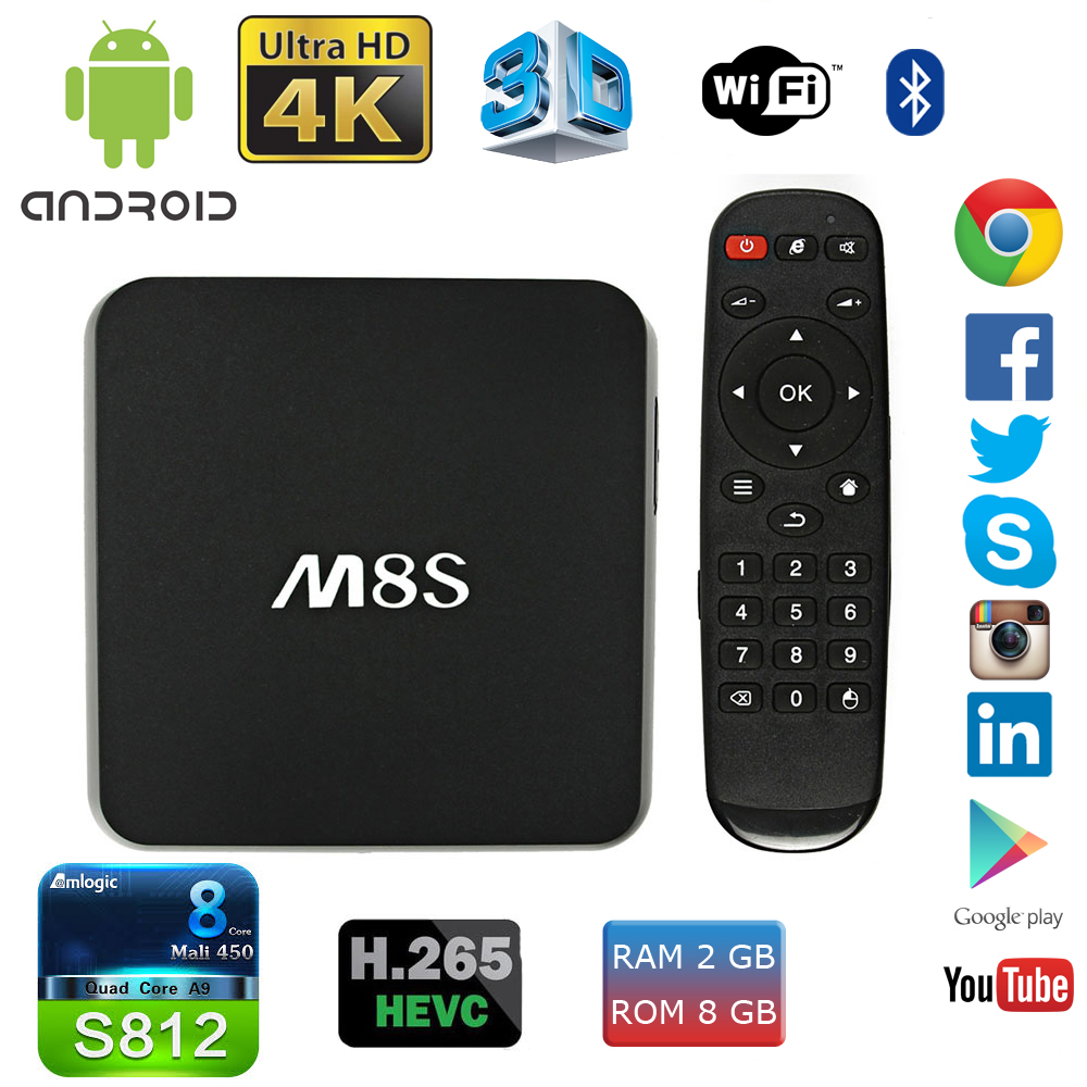 M8S Android TV Box 2G 8G Dual-Band 2-4G-5G-Wifi Android 4.4